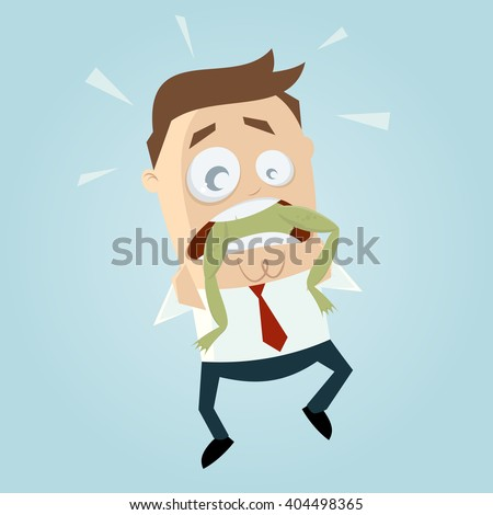 funny businessman with frog in his throat - stock vector