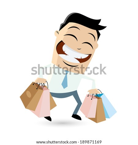 funny businessman with shopping bags - stock vector