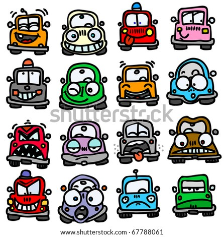 Funny cars emoticons. - stock vector