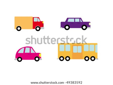 Funny cars vector pack - stock vector