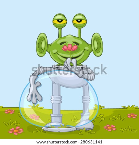 Funny cartoon alien with opened spacesuit helmet joyfully smells flower aroma