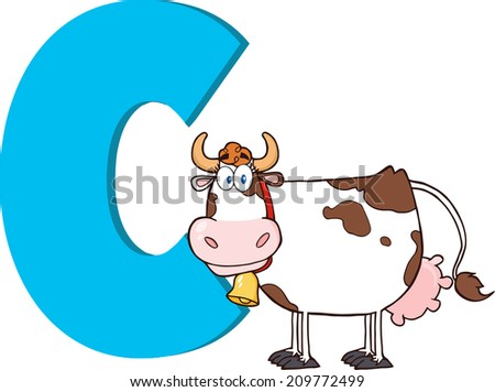 Funny Cartoon Alphabet-C With Cow. Vector Illustration Isolated on white - stock vector