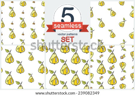 Funny cartoon and double pears. Set of 5 vector seamless pattern.  - stock vector