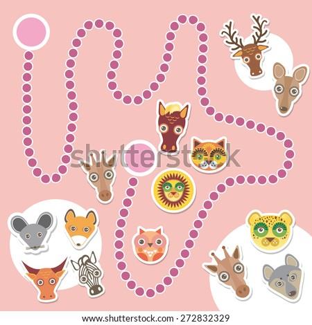 Funny cartoon animals game for Preschool Children. Vector - stock vector