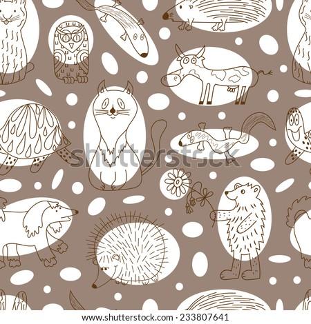 Funny cartoon animals seamless pattern. Kids background. - stock vector