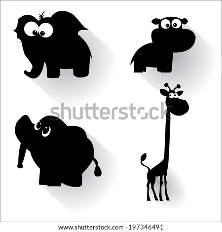 Funny cartoon animals silhouettes. Made in vector - stock vector