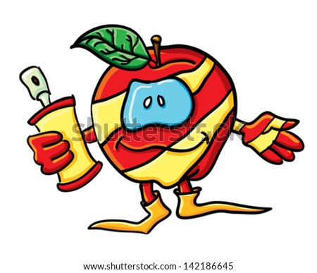 Funny cartoon apple on the white background