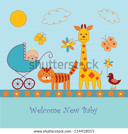 funny cartoon baby shower card - stock vector