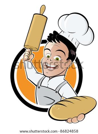 funny cartoon baker - stock vector