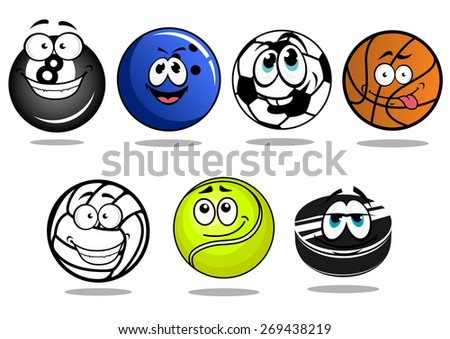 Funny cartoon balls and puck characters for football or soccer, ice hockey, basketball, volleyball, bowling, billiards, tennis games for sporting mascot design - stock vector