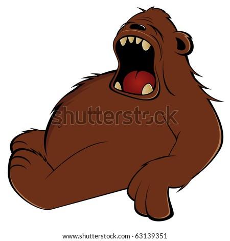 funny cartoon bear is tired - stock vector