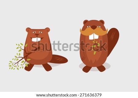 Funny cartoon beavers - stock vector