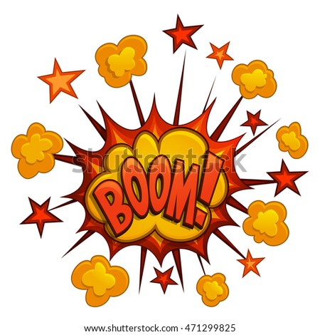 Funny cartoon boom and comic book explosion. Vector illustration.
