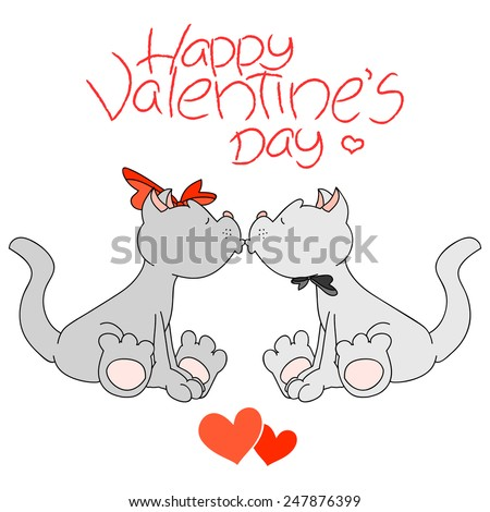 Funny cartoon boy and girl cats kissing under 'Happy Valentine's Day' lettering. Valentine's Day illustration. Editable and alterable bows. - stock vector