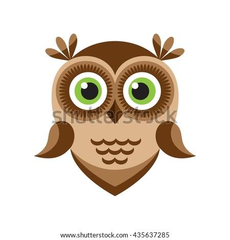 Funny cartoon brown owl icon - stock vector