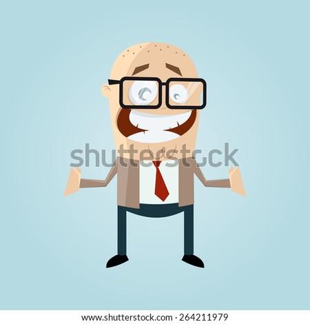 funny cartoon businessman  - stock vector