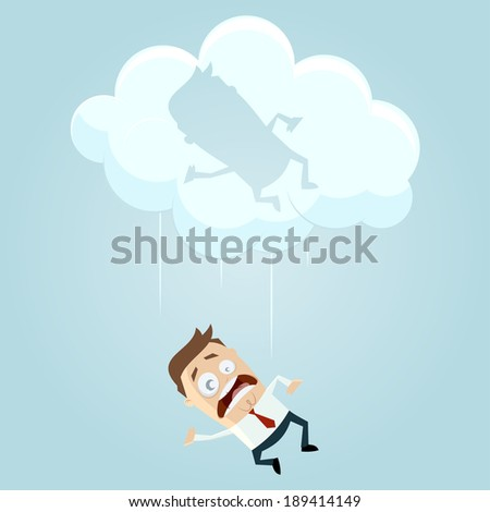 funny cartoon businessman is falling from a cloud - stock vector
