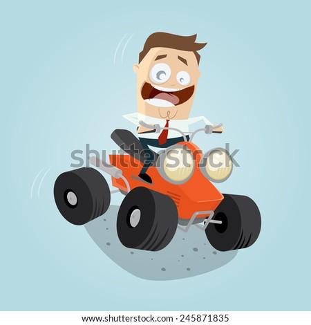 funny cartoon businessman is riding a quad bike - stock vector