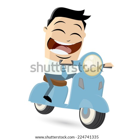 funny cartoon businessman is riding a scooter - stock vector