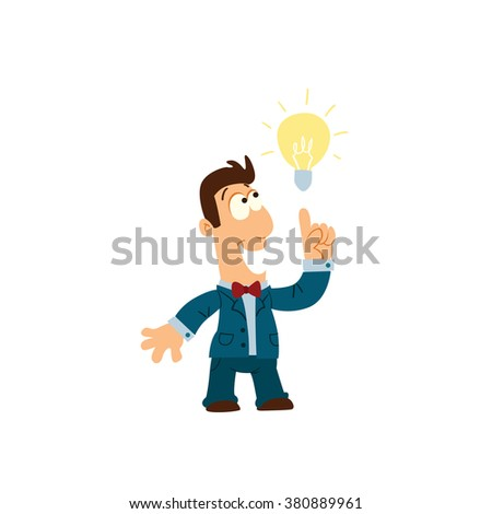 Funny cartoon businessman with a beard pointing to the bulb. Idea concept.