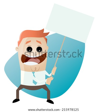 funny cartoon businessman with empty sign - stock vector