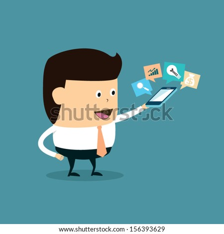 Funny Cartoon Businessman with monitoring marketing results - stock vector