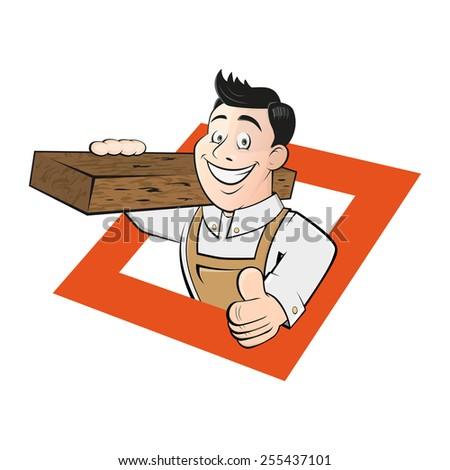 funny cartoon carpenter - stock vector