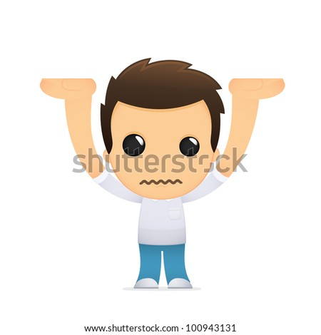 funny cartoon casual man in various poses for use in advertising, presentations, brochures, blogs, documents and forms, etc. - stock vector