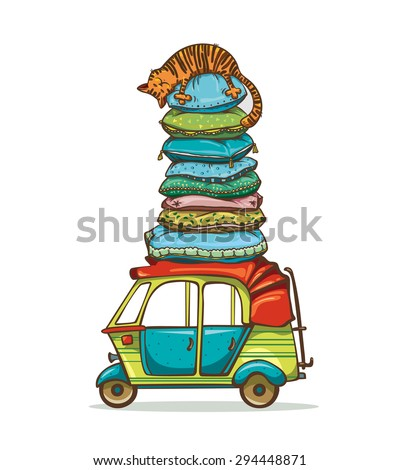 Funny cartoon cat sleeping on the tower from pillows on a roof of the auto rickshaw. Childish vector illustration. - stock vector