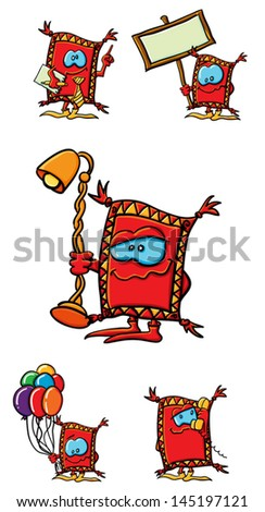 Funny cartoon ccarpet on the white background - stock vector