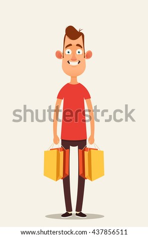 Funny Cartoon Character Holding Shopping Bags. Vector Illustration