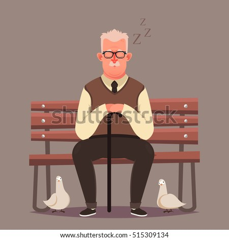 funny cartoon character old man sitting stock vector 515309134