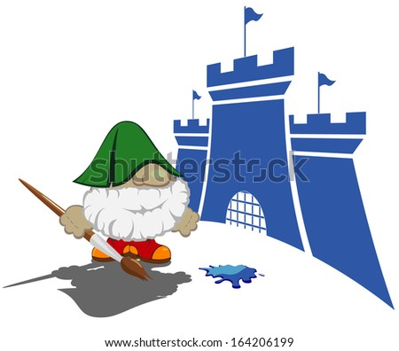 funny cartoon character with paintbrush painting the castles.vector illustration 4