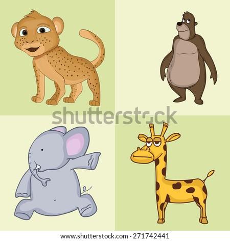 Funny cartoon characters of wild animals like leopard, bear, elephant and giraffe. - stock vector