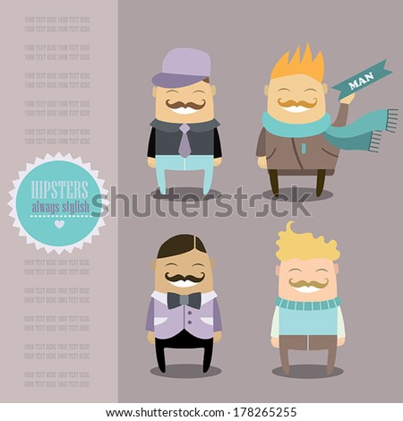 Funny cartoon characters set. Stylish guys always look cool. Hipster fashion and style.Vector illustration.