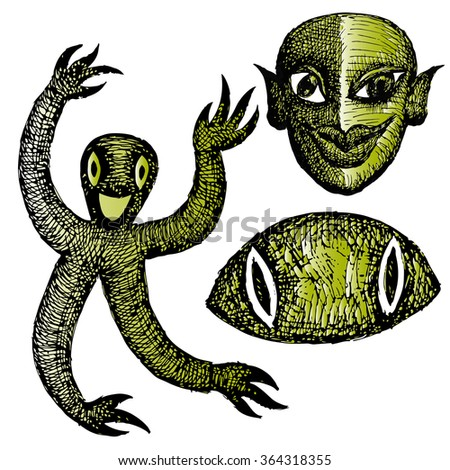 Funny cartoon characters. Surreal creatures - stock vector