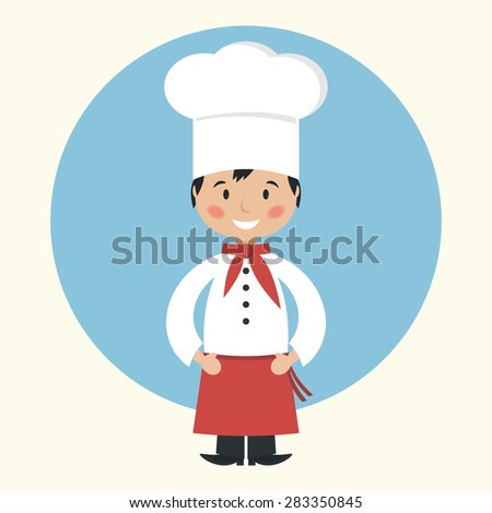 Funny cartoon chef cook flat vector illustration.  - stock vector