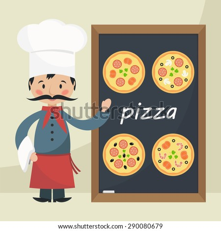 Funny cartoon chef cook with menu pizza. Flat vector illustration.  - stock vector