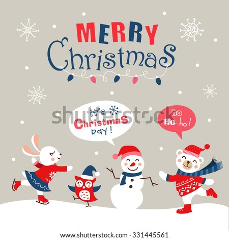 Funny cartoon christmas card, banner and poster design. Vector illustration.  - stock vector
