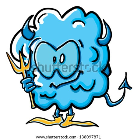 Funny cartoon cloud on the white background