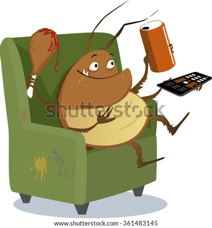 Funny cartoon cockroach sitting in a chair with a TV remote control, drink in a can and a drumstick, EPS 8 vector illustration - stock vector
