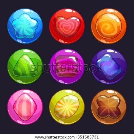 Funny cartoon colorful bubbles with candies inside, vector assets set for game design - stock vector