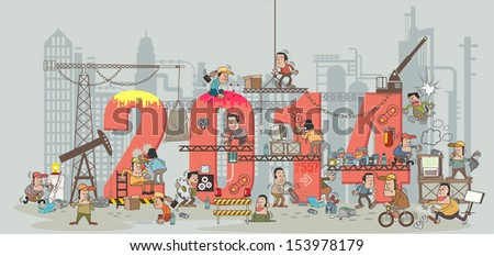 Funny cartoon construction workers collaborating in the installation 2014 building. Cartoon and vector illustration template design - stock vector