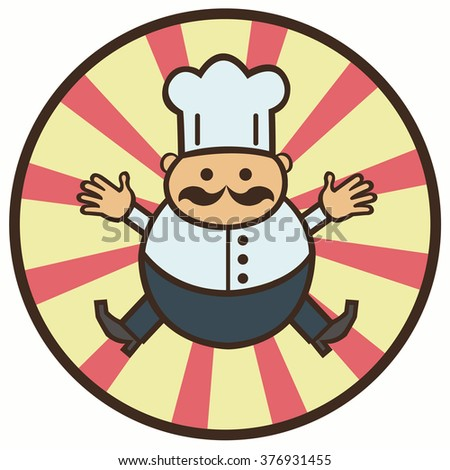 funny cartoon cook with a mustache
