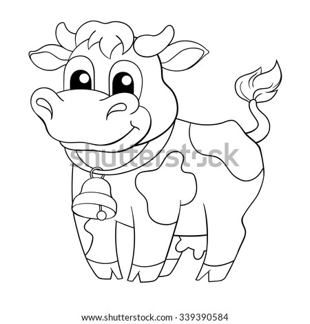 Funny Cartoon Cow Black And White Vector Illustration For Coloring Book
