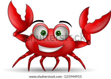 funny cartoon crabs - stock vector