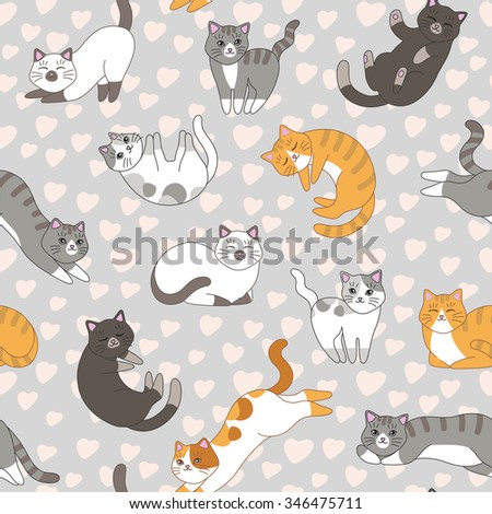 Funny cartoon cute red, orange, ginger, gray, white, black cats. Seamless pattern for children. Sleeping and playing kittens - stock vector
