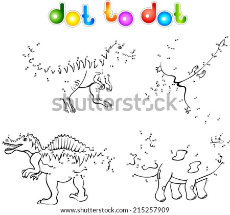Funny cartoon dinosaurs. First set. Coloring book dot to dot - stock vector