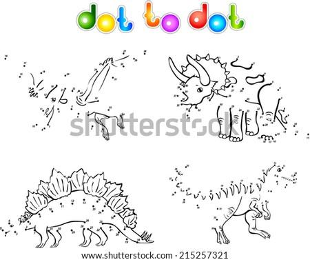 Funny cartoon dinosaurs. Second set. Coloring book dot to dot - stock vector