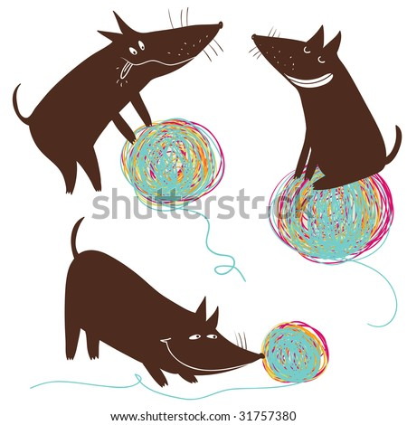 Funny cartoon dog playing with a colorful ball - stock vector